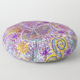 Purple Blue Abstract Vibrant Doodle Floor Pillow
