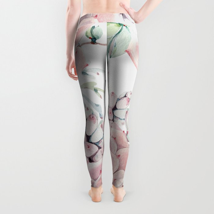 Pink Succulents by Nature Magick Leggings