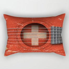 Old Vintage Acoustic Guitar with Swiss Flag Rectangular Pillow