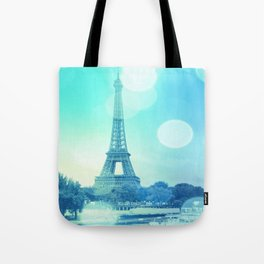 Paris Bokeh Aqua Tote Bag