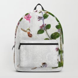 Cottage Style Thyme, Bumble Bee, Hummingbird, Herbal Botanical Illustration Backpack