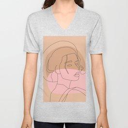 Femme au Chapeau Unisex V-Neck