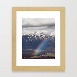 Rainbow and mountains after the storm Framed Art Print