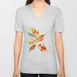 Hummingbird and Flame Colored Flowers, yellow red floral art design Unisex V-Neck
