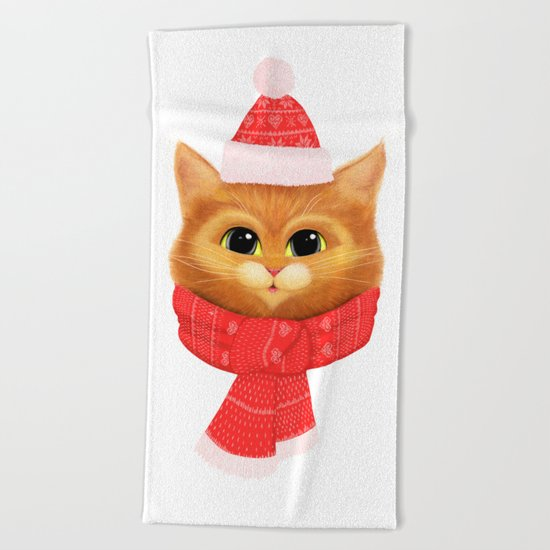 Winter kitty Beach Towel