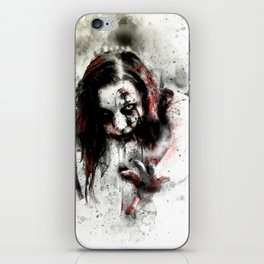 Watercolor Zombie, Horror Zombie, Cool Women Zombie Painting iPhone Skin