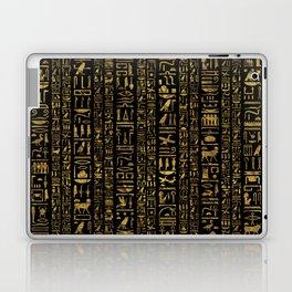 Egyptian hieroglyphs vintage gold on black Laptop & iPad Skin
