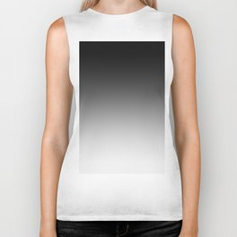 Black to White Horizontal Linear Gradient Biker Tank