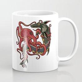 tattoo design - octopus fighting shark Coffee Mug