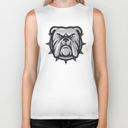 angry bulldog head Biker Tank