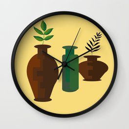 Clay Jugs and Bottle Wall Clock