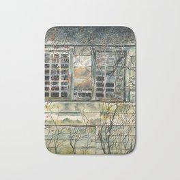 Barn Window, Watercolor art print, Mineral Point, Wisconsin, vintage, old Bath Mat