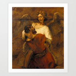 Jacob Wrestling with the Angel Art Print