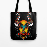 maleficent Tote Bags featuring Maleficent by Quakerninja