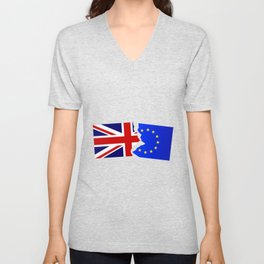 EU and Great Britain Flags Unisex V-Neck