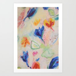Floral Daydream Abstact Collage Painting Art Print
