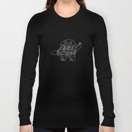 Stegosaurus Dinosaur (A.K.A Armored Lizard) Butcher Meat Diagram Long Sleeve T-shirt