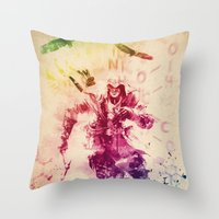 assassins creed Throw Pillows featuring Assassins Creed III by Robert William Smith