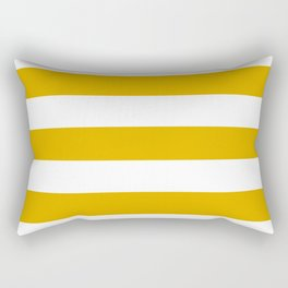 Mustard yellow - solid color - white stripes pattern Rectangular Pillow