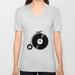 Penny Farthing With Vinyl Records Unisex V-Neck