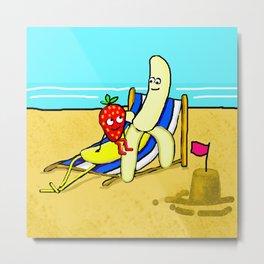 Banana And Strawberry At The Sea Side Metal Print
