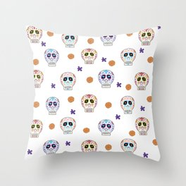 Mexican Candy Skull Throw Pillow