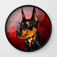 doberman Wall Clocks featuring Doberman by Ruveyda & Emre