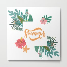 Summer In Floral Frame Metal Print