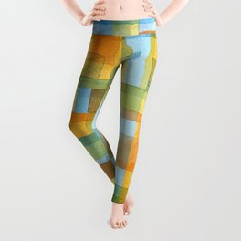 City by a river -watercolour after Paul Klee Leggings