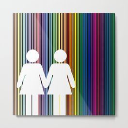 Multicolored lines simulating the rainbow with black background with two women Metal Print