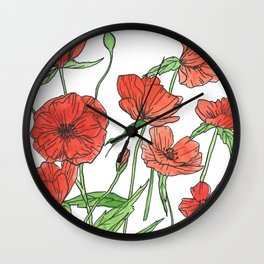Red poppy watercolor painting Wall Clock