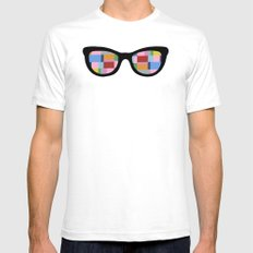 Square Eyes on Grey SMALL White Mens Fitted Tee
