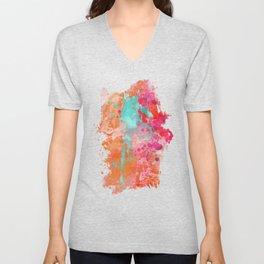 Paint Splatter Turquoise Orange And Pink Unisex V-Neck