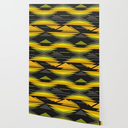Black and yellow abstract geometric pattern . Wallpaper