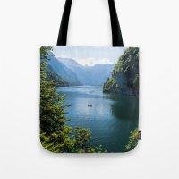 germany Tote Bags featuring Germany, Malerblick, Koenigssee Lake III by UtArt