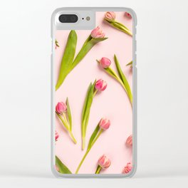 Floral pattern with pink tulips on pink background Clear iPhone Case