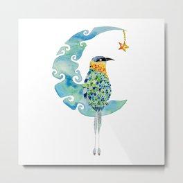 Bobo bird on the moon Metal Print
