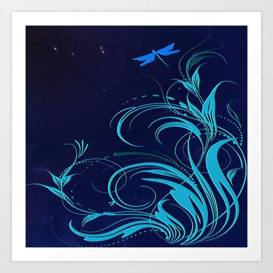 Good Night Dragonfly Art Print