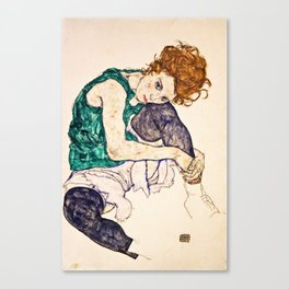 Egon Schiele - Seated Woman With Legs Drawn Up Canvas Print