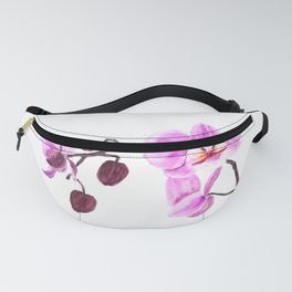 pink orchid flower watercolor painting Fanny Pack