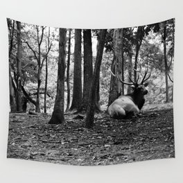 Elk Laying Down in Woods Wall Tapestry