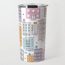 New York Brownstone Architecture - Pastel homes Travel Mug
