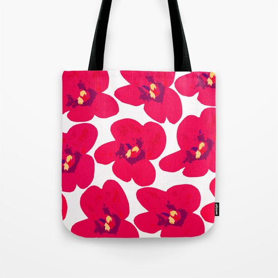 Red Retro Flowers Tote Bag