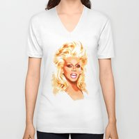 rupaul V-neck T-shirts featuring RuPaul - Supermodel - Pop Art by William Cuccio aka WCSmack