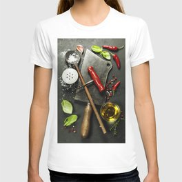 Vintage cutlery and fresh ingredients on dark background T-shirt