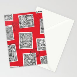 Antique Postage Stamps and Postmarks - Black, Red, White Stationery Cards