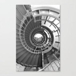 Gray's Harbor Lighthouse Stairwell Spiral Architecture Washington Nautical Coastal Black and White Canvas Print