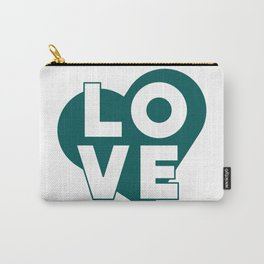 LOVE & heart // dark teal Carry-All Pouch