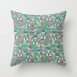 Schnauzer florals dog must have gifts for schnauzers pure breed Throw Pillow