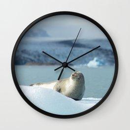 Seal chilling on an iceberg in Jökulsárlón glacier lagoon | Travel photography Iceland Wall Clock